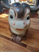 Vintage Chalkware Ferdinand The Bull Bank Approx 9 Tall /bull /cow
