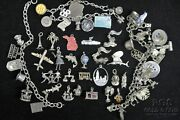 Vintage Sterling Silver Charm Bracelets And Charms 58 Charms 925 166.2gr 18653