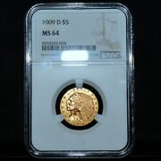 1909-d 5 Gold Indian ✪ Ngc Ms-64 ✪ Choice Uncirculated Unc Half Eagle ◢trusted◣