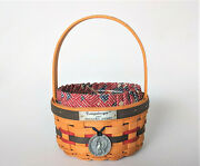 Longaberger 1997 Inaugural Basket And Liner And Protector And Tie-on Excellent Condion
