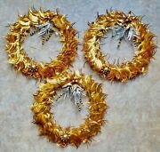 Three Vintage Gold Christmas Wreaths With Decorations 1950and039s