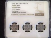 1943 Pds Lincoln Steel Cent 3 Coin Set Ngc Ms65