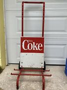 Vintage Coca Cola Display Dolly Crate Stand Rack Coke Sign
