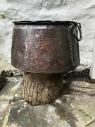 Huge Old Antique Turkish Early 19th Century Hammered Copper Cauldron Pot