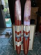 Vintage Childandrsquos Riviera Wooden Water Skis 48andrdquo Red/w Stripes Free Shipping Usa