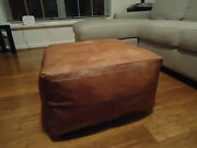 New Antique Tan Leather Ottoman Or Footstool