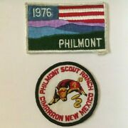 2 Philmont Boy Scout Ranch Patches. Cimarron, Nm And 1976 Bicentennial Flag Patch