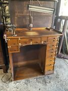 Museum Piece Watchmakers Tool Bench Antique Complete With Tools Parts Cabinet