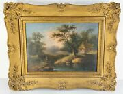 Antique 18th Century Oil Painting On Canvas Old Master Landscape Dutch English