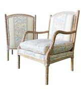 1990s Carved Wooden Side Chairs With Floral Upholstry