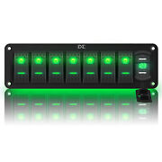 8 Gang Green Led Toggle Rocker Switch Panel With Usb For Boat Marine Truck Rv