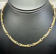 Vintage 9 Ct White And Yellow Gold Necklace 17.77 Gms 16 Inch
