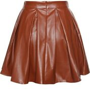 Noora Womenand039s 100 Real Lambskin Leather Brown Mini Skirt With Zip Closure St134