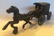 Cast Iron Horse And Wagon, Vintage, Amish, Cast Iron Toy Horse And Buggy