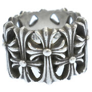 Chrome Hearts Cemetery Cross Ring Silver No.18 Secondhand Degree Color Gold