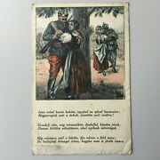 Wwi Austro-hungarian Postcard Soldier Girlfriend Romantic Hand Tinted Drawing
