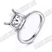 8mm Round 0.3ct Real Si/h Diamonds Semi Mount Ring Setting Solid 18k White Gold