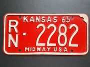 1965 Kansas Auto Car Truck Vechicle License Plate Rn 2282 Midway Usa