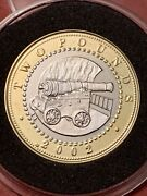 2002 Gibraltar Cannon Andpound2 Two Pound Coin Brilliant Uncirculated In Capsule