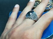 Vintage Sterling Silver 925 Manand039s Ring Inlaid With A Natural Black Stone. Origin