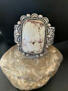 Nwot Native Navajo Sterling Silver Wild Crazy Horse Turquoise Cuff Bracelet1418
