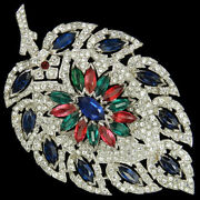 Ktf Trifari Philippe 1930s Jewels Of India Pave And Tricolour Stones Large Leaf Pi