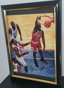Hand Signed Photo Michael Jordan Framed 8x10 With Coa Authentic Autograph