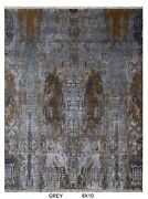 8and039x10and039 Rug | Hand Knotted Contemporary Rugs Wool And Natural Silk Real Silk