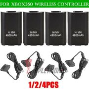 1-4pcs Battery Pack + Usb Charger Cable Dock For Xbox 360 Wireless Controller