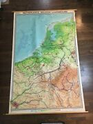 1961 Vintage Elevation Cloth Wall Map Of Netherlands Belgium Luxembourg
