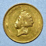 1855 1 Gold Dollar ✪ Au Almost Uncirculated ✪ G1 L@@k Now Type T-2 ◢trusted◣