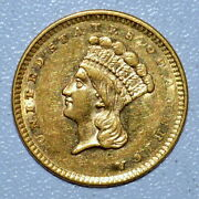 1856 1 Gold Dollar ✪ Au Almost Uncirculated Details ✪ G1 Type T-3 ◢trusted◣