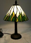 Vintage Green Stained Glass Shade Lamp Table Lamp Night Light 14