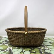 Vintage Hand Woven Large Oval Nantucket Lightship Basket Stained Brown 12 X 9.5