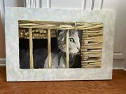 """Original Signed Oil - """"mitzi'', 24x36"""" Feline, Cat In Basket Or Cage Looking Out"""