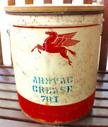 Vintage Armvac Grease Socony Oil Mobil 5 Gallon Can C. Late 1940and039s-50and039s Rare