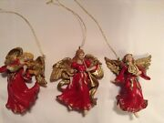 Beautiful Lot Of 3 Angel Christmas Ornaments Horn Mandolin Harp Red And Gold