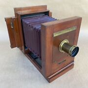 Antique Century Penny Picture 5x7 Wet Plate Wooden View Camera W/ Brass Lens