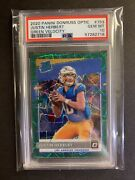 Justin Herbert Donruss Optic Green Prizm Velocity Psa 10 Gem Mint Rookie Card