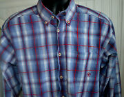 Ariat Plaid Western Button Up Shirt Mens Large Blue Gray Red L/s
