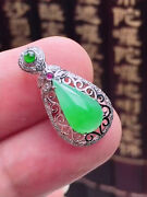 Drops 18k White Gold Icy Emerald Young Green Jadeite Jade Pendant《grade A》