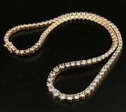 New / 12 Ct Riviera Necklace / 14k Gold / 25.4 Grams / 16 / Top Luxury