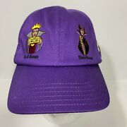Disney Parks Embroidered Villains Purple Strap Back Hat Hook And Loop Adult Nwt