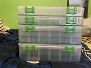 New Lot Of 4 - Lure Lock Tackle Box Trays 2 Large Cases And 2 Single Trays