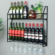 Industrial Wine Rack 20 Bottles Wall Mount Wine Cabinet With 7 Glasses Hook H...