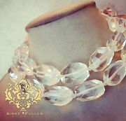 Faceted Crystal Statement Necklace Bold Rock Chunky Wedding Bride Bridal Jewelry