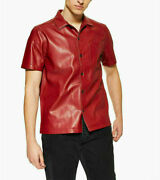 Menand039s Genuine Lambskin Real Leather Waxed Shirt Vintage Slim Fit Shirt-ms18