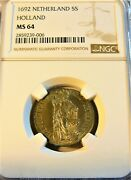 Netherlands Holland 1692 5 Stuivers Ngc Ms64