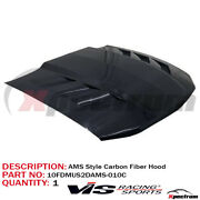 For 2010-2012 Ford Mustang [ Vis Racing ] Gloss Black Ams Real Carbon Fiber Hood