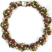 Rousselet France Red And Green Poured Glass Pearls Flower Cluster Choker Necklace